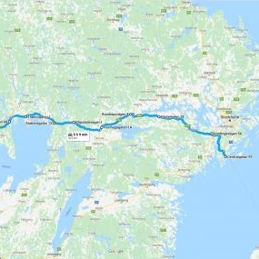 Map of a free delivery route in Sweden