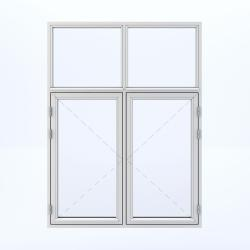 4 parts window with 2 sashes on the bottom and 2 fixed on the top