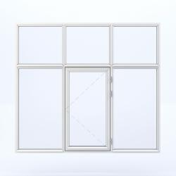 6 parts window with one side hinged in the middle